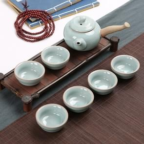 7 PCS Ceramic Kungfu Teaware Teapot Teacup Set, Shape:Straight Handle(Blue)