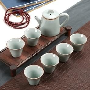 7 PCS Ceramic Kungfu Teaware Teapot Teacup Set, Shape:Side Handle(Blue)