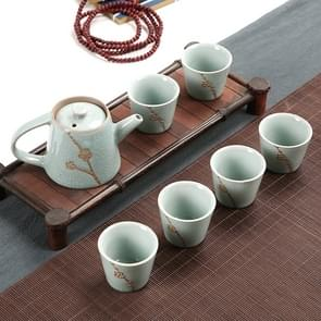 7 PCS Ceramic Kungfu Teaware Teapot Teacup Set, Shape:Embossed Plum Blossom(Blue)