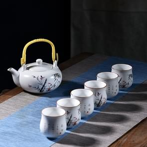 7 PCS Ceramic Kungfu Teaware Beam-lifting Teapot Teacup Set, Pattern:Bamboo Rhyme
