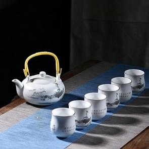 7 PCS Ceramic Kungfu Teaware Beam-lifting Teapot Teacup Set, Pattern:Shepherd Boy