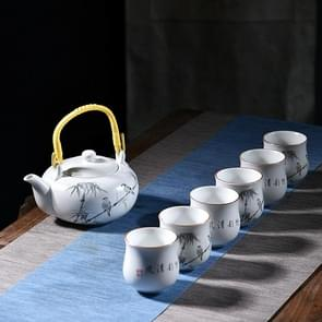 7 PCS Ceramic Kungfu Teaware Beam-lifting Teapot Teacup Set, Pattern:Cool Breeze Cool breeze