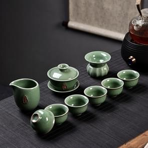 Ge Kiln Ceramic Kungfu Teaware Teacup Cover Bowl Set, Color:Green