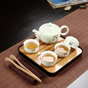 Outdoor Travel Mini Portable Ceramics Teaware Set Without Travel Box, Pattern:Zen Letter