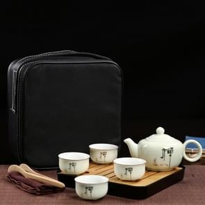 Outdoor Travel Mini Portable Ceramics Teaware Set With Travel Box, Pattern:Zen Letter