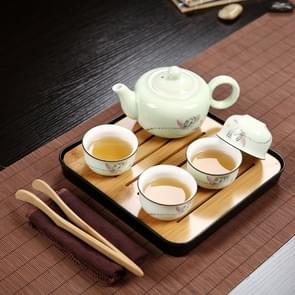Outdoor Travel Mini Portable Ceramics Teaware Set Without Travel Box, Pattern:Lotus Rhyme
