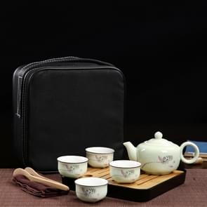 Outdoor Travel Mini Portable Ceramics Teaware Set With Travel Box, Pattern:Lotus Rhyme