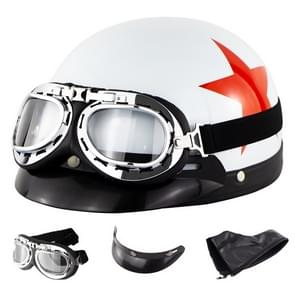 Soman Electromobile Motorcycle Half Face Helmet Retro Harley Helmet with Goggles(Bright White Red Star)