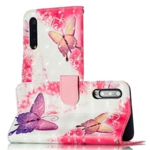 3D Pattern Colored Drawing Horizontal Flip Leather Case for Xiaomi Mi 9, with Holder & Card Slots & Wallet & Lanyard(Little Butterfly)