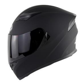 Soman SM-960 Motorcycle Electromobile Full Face Helmet Double Lens Protective Helmet, Size:M, 57-58cm(Matte Black with Smoke Lens)