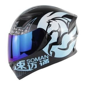 Soman SM-960 Motorcycle Electromobile Full Face Helmet Double Lens Protective Helmet, Size:XXL, 63-64cm(Blue with Blue Lens)