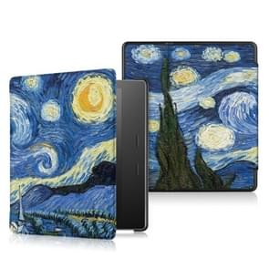 Cowhide Texture Pattern Colored Drawing Horizontal Flip Leather Case for Amazon Kindle oasis (2019), with Holder(Starry Sky)
