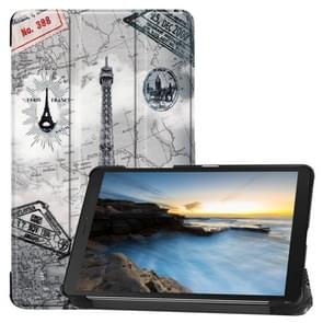 Cowhide Texture Pattern Colored Drawing Horizontal Flip Leather Case for Galaxy Tab A 8.0 2019, with Holder(Retro Iron Tower)