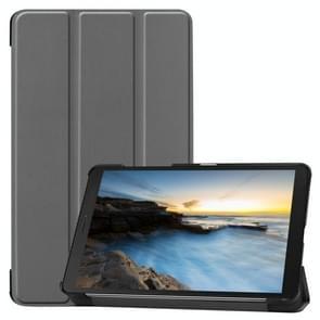 Tri-Fold koeienhuid textuur horizontale Flip lederen case voor Galaxy tab A 8 0 2019  met houder (grijs)