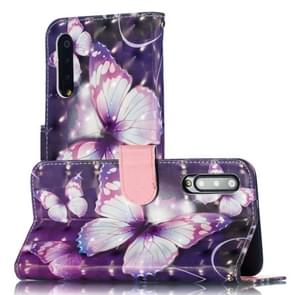 3D Pattern Colored Drawing Horizontal Flip Leather Case for Xiaomi Mi 9 SE, with Holder & Card Slots & Wallet & Lanyard(Purple Butterfly)