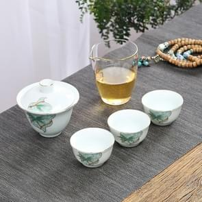 5 in 1 Hand-painted Outdoor Portable Travel Storage Teapot Kungfu Cup Tea Set(Bamboo orchid)