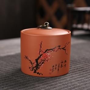 Ceramic Redware Tea Pot Storage Sealed Tea Tank(Plum)