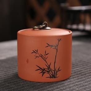 Ceramic Redware Tea Pot Storage Sealed Tea Tank(Bamboo)