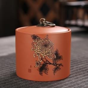 Ceramic Redware Tea Pot Storage Sealed Tea Tank(Chrysanthemum)
