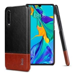 IMAK Ruiyi Series Concise Slim PU + PC Protective Case for Huawei P30(Black+Brown)