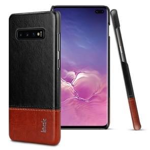 IMAK Ruiyi serie beknopte slanke PU + PC beschermhoes voor Galaxy S10 PLUS (zwart + bruin)
