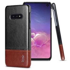 IMAK Ruiyi Series Concise Slim PU + PC Protective Case for Galaxy S10e(Black+Brown)