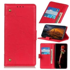 Copper Buckle Retro Texture Horizontal Flip Leather Case with Holder & Card Slots & Wallet for HTC D19+(Red)