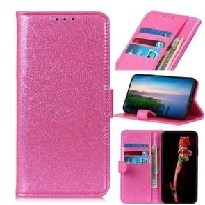 Glitter poeder waterdichte horizontale Flip lederen draagtas met kaartsleuven & houder voor OnePlus 7 (roze)