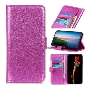 Glitter Powder Waterproof Horizontal Flip Leather Case with Card Slots & Holder for OnePlus 7 Pro(Purple)