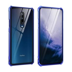 Buckle Series Metal Frame + Tempered Glass Protective Case for OnePlus 7 Pro(Blue-Purple)