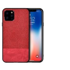 Schokbestendig splicing PU + doek beschermende case voor iPhone XI Max 2019 (rood)