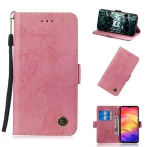 Multifunctional Horizontal Flip Retro Leather Case with Card Slot & Holder for Xiaomi Redmi Note 7(Pink)