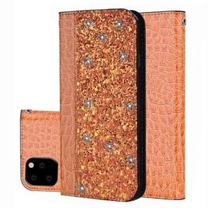 Crocodile Texture Glitter Powder Horizontal Flip Leather Case with Card Slots & Holder for Galaxy Note 10 Pro(Orange)