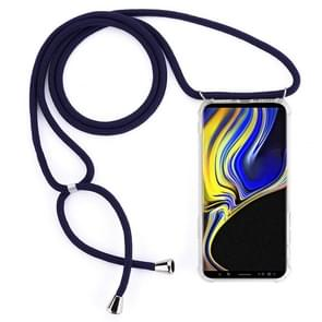 Four-Corner Anti-Fall Transparent TPU Mobile Phone Case With Lanyard for Galaxy Note 9(Dark Blue)