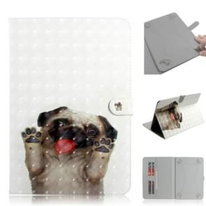 3D Colored Drawing Universal Horizontal Flip Leather Case, with Holder & Card Slot & Wallet for 8 inch Tablet PC(Pug)