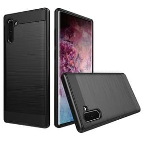 Brushed Texture Shockproof Rugged Armor Protective Case for Galaxy Note 10(Black)