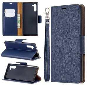 Litchi Texture Pure Color Horizontal Flip PU Leather Case with Holder & Card Slots & Wallet & Lanyard for Galaxy Note10(Dark Blue)