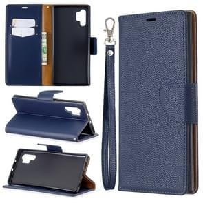 Litchi Texture Pure Color Horizontal Flip PU Leather Case with Holder & Card Slots & Wallet & Lanyard for Galaxy Note10+(Dark Blue)