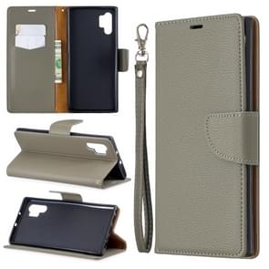 Litchi Texture Pure Color Horizontal Flip PU Leather Case with Holder & Card Slots & Wallet & Lanyard for Galaxy Note10+(Grey)