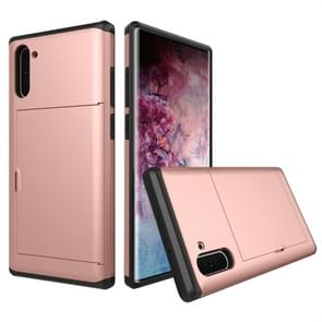 Shockproof Rugged Armor Protective Case with Card Slot for Galaxy Note 10(Rose Gold)