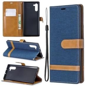 Color Matching Denim Texture Horizontal Flip Leather Case with Holder & Card Slots & Wallet & Lanyard for Galaxy Note10(Dark Blue)