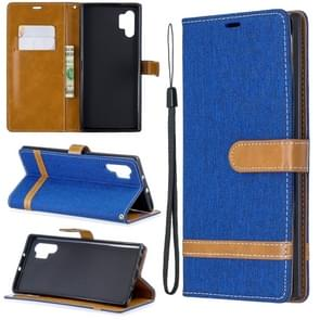 Color Matching Denim Texture Horizontal Flip Leather Case with Holder & Card Slots & Wallet & Lanyard for Galaxy Note10+(Royal Blue)