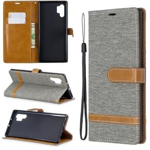 Color Matching Denim Texture Horizontal Flip Leather Case with Holder & Card Slots & Wallet & Lanyard for Galaxy Note10+(Grey)
