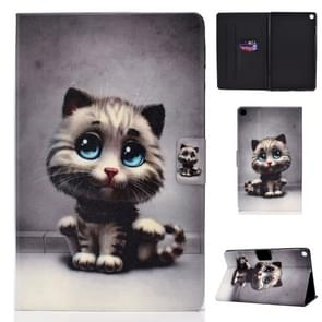 Colored Drawing Universal Voltage Craft Cloth TPU Protective Case, with Holder & Card Slots & Anti-slip Strip(Cat)