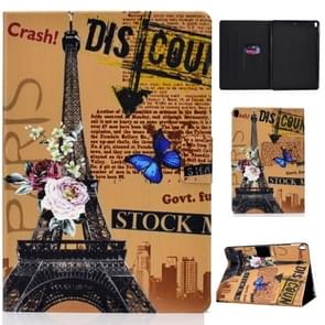 Colored Drawing Universal Voltage Craft Cloth TPU Protective Case, with Holder & Sleep / Wake-up Function & Card Slots & Anti-slip Strip for iPad Pro 10.5 Inch / iPad Air (2019)(Eiffel Tower)