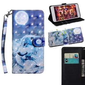 3D Painting Pattern Coloured Drawing Horizontal Flip TPU + PU Leather Case with Holder & Card Slots & Wallet For Huawei P30(Moon Wolf)