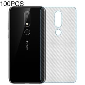 100 PCS Carbon Fiber Material Skin Sticker Back Protective Film For Nokia 5.1 Plus / X5