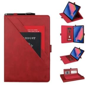 Horizontal Flip Double Bracket Leather Case for Galaxy Tab A 8 (2019) P200 / P205, with Card Slots & Photo Frame & Pen Slot(Red)