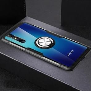 Shockproof Transparent Protective Case with 360 Degree Magnetic Rotation Holder For Vivo X27(Silver+Black)