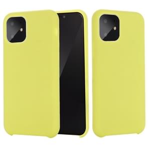 For iPhone 11 Solid Color Liquid Silicone Shockproof Case (Yellow)
